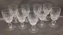 Nine Sherry Waterford Crystal Glasses in Colleen pattern