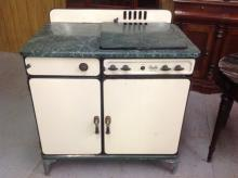 Porcelain Green and White Cook Stove - all original - by Quality - gas powered