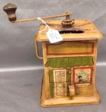 Tin Coffee Grinder hand painted of Lady in Kitchen