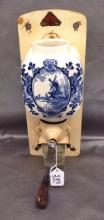 Blue decorated antique wall hanging Coffee Grinder with original glass insert marked De Ve