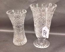 Waterford Crystal Footed Vase, cross hatched cut
