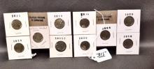 10 Buffalo Nickels, various dates