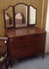 1950 decorated and inlaid Dresser with mirror  64t x 42w x 22d