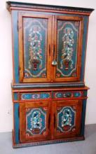 Remarkable hand painted 2 piece Blind door Stepback Cupboard