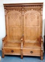 Large German Highly decorated 2 person Wall Bench