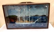 Hand Built Sailing Ship enclosed in wooden, glass front case