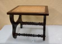 Wicker top Mahogany Foot Stool