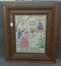 Early Needlepoint framed Picture - frame is oak and decorated - 31 x 26.  Buyer of this item must pick up item or arrange for own shipping.  View terms for suggested shippers