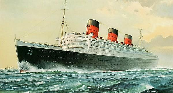 Charles Eddowes Turner (British, 1883-1965); Queen Mary - Cunard Line;