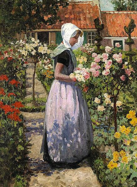 George Hitchcock (American, 1850-1913) Portrait of a Dutch Woman in a Garden 24 x 18in