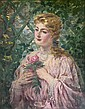 James Carroll Beckwith (1852-1917) Portrait of a Woman holding a Rose 33 x 25 3/4in