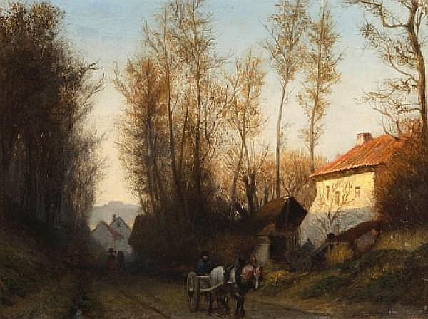 Attributed to Adolf Alexander Dillens (Belgian, 1821-1877) A road near Waterloo 10 1/4 x 13 1/2in