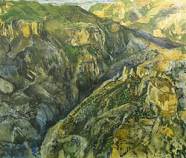 Glenn Anthony Wessels (American, 1895-1982) Copper Canyon (Barranca del Cobre), Mexico, 1975 36 1/4 x 43in