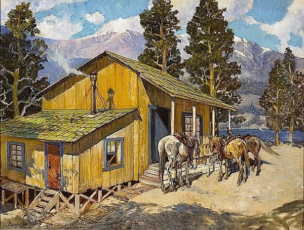 Hernando Gonzallo Villa (American, 1881-1952) Believed to be Edgar Payne's cabin, 1944 18 x 24in