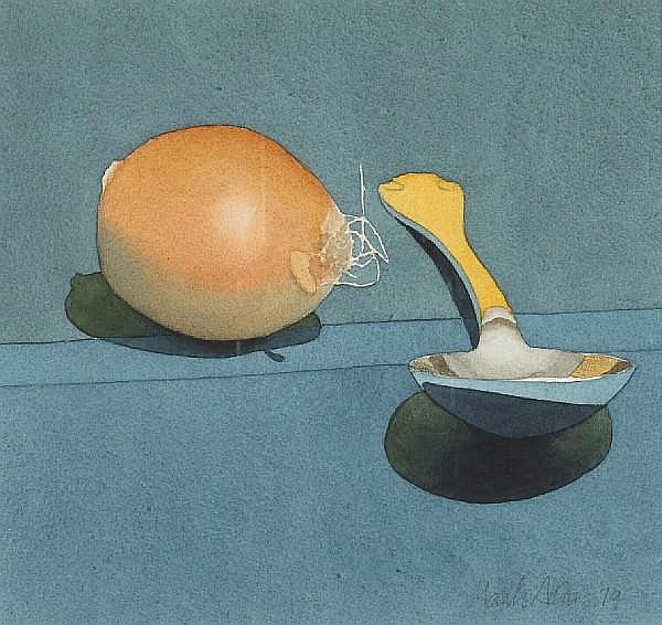 Mark Adams (American, 1925-2006) Onion and Spoon, 1979 8 x 8 1/2in