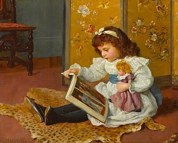 Charles Haigh-Wood (British, 1856-1927) Storytime 12 x 15in (30.4 x 38.1cm)