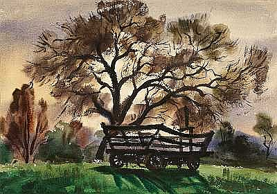 Charles Payzant (American, 1898-1980) Old Wagon; Harbor Scene (double-sided) sight 14 3/4 x 21 1/4in