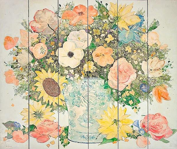 Ira Yeager (American, born 1938) Floral Screen, 1979 each panel 102 x 20in