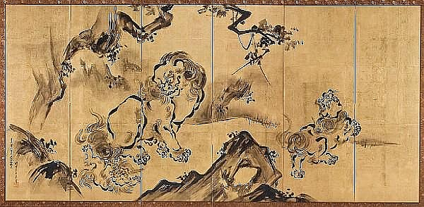Kano Eitoku (Tatsunobu, 1814-91) Chinese Lions