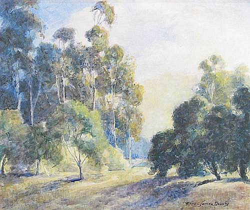 Alfred James Dewey (American, 1874-1958) A Landscape with Eucalyptus and Oak Trees 20 x 23 3/4in
