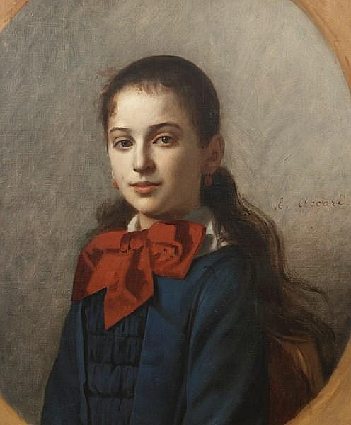 Eugène Accard (French, 1824-1888) A portrait of a young lady wearing a red bow; together with two other portraits (a group of three) each 22 3/8 x 18 1/4in