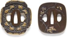 A shakudo tsuba and a sentoku tsuba Fine Japanese and Korean Works of Art