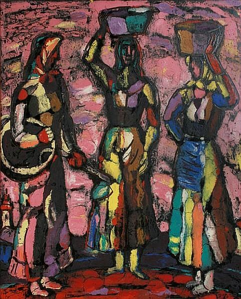 Tibor Jankay (Hungarian/American, 1899-1994) Untitled (Three women) 29 1/2 x 24in