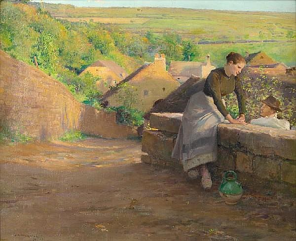 Jules Alexis Muenier (French, 1863-1942) The rustic rendevous 14 1/2 x 18in (36.8 x 45.7cm)