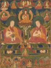 A double portrait thangka of the Eighth and Ninth Ngor Abbotts Indian, Himalayan & Southeast Asian Art