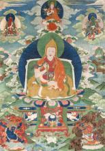A thangka of a Gelugpa lama Indian, Himalayan & Southeast Asian Art