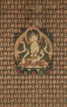 A large thangka of Ushnishavijaya Indian, Himalayan & Southeast Asian Art