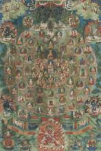 A thangka of a Gelugpa refuge field Indian, Himalayan & Southeast Asian Art