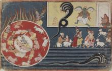 An illustration from a Bhagavata Purana series: Krishna battles Kaliya and swallows the fire Indian, Himalayan & Southeast Asian Art