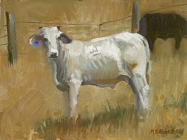 Meredith Brooks Abbott (American, born 1838) White Steer 9 x 12in