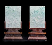 A pair of jadeite table screens Chinese Art from the Scholar's Studio