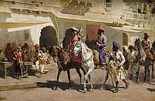 EDWIN LORD WEEKS (AMERICAN, 1849-1903)   Start for the Hunt at Gwalior