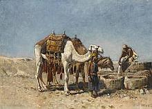 EDWIN LORD WEEKS (AMERICAN, 1849-1903)   Camels at the well, Tangiers