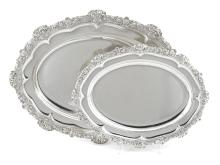 Two graduated Regency  sterling silver  oval meat dishes Fine Furniture, Silver, Decorative Arts & Clocks