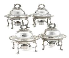 A set of four George IV sterling silver covered breakfast dishes Fine Furniture, Silver, Decorative Arts & Clocks
