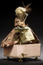 A musical Automaton of a  Monkey playing mandolin Fine Furniture, Silver, Decorative Arts & Clocks