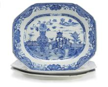 Three similar Chinese Export porcelain Nanking blue and white rectangular platterslate 18th century Fine Furniture, Silver, Decorative Arts & Clocks
