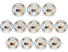 A set of twelve Chinese Export porcelain famille verte dishes made for the Portuguese market18th century Fine Furniture, Silver, Decorative Arts & Clocks