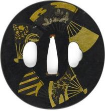 A tsuba and two fuchi- -Edo period (19th century)