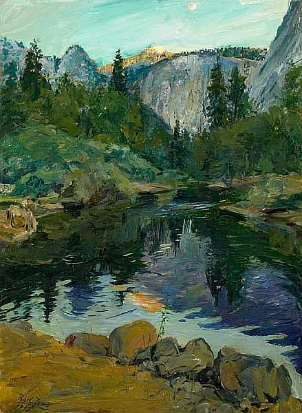 Karl Yens (American, 1868-1945) View along the Merced River, Yosemite, 1919 24 x 18in