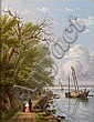William Rickarby Miller (American, 1818-1893) By the waterside, Hoboken, New Jersey; The Palisades of the Hudson (Two) each 9 1/2 x 7 1/2in, William Rickarby Miller, Click for value