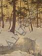 Walter Launt Palmer (American, 1854-1932) Winter landscape 24 x 18in