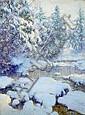 Walter Launt Palmer (American, 1854-1932) A Stream in Winter 40 x 30in