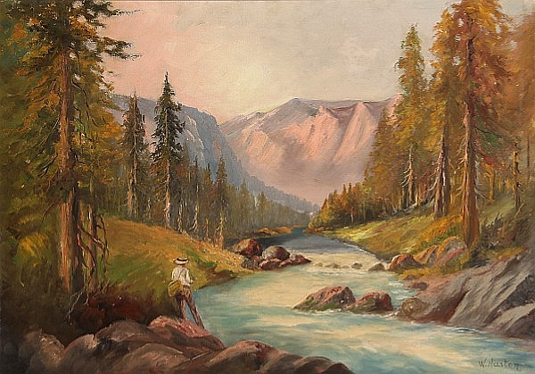 (n/a) W. Huston (American, 20th Century) On the McKenzie River, Oregon 25 1/4 x 36 1/4in