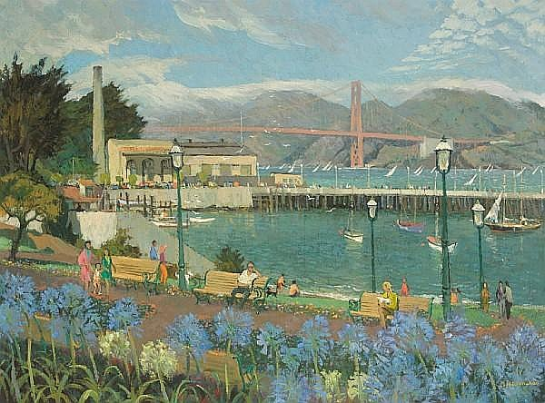 Louis Macouillard (American, 1913-1987) 'From Victorian Park, San Francisco' 30 x 40in