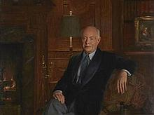John Koch (American, 1909-1978) Portrait of David Sarnoff 30 x 40in